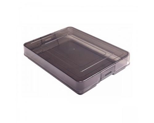 Контейнер для документов А4 с защелками тонированный серый