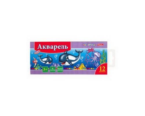 Краски акварельные 12 цветов медовые Hatber Дельфины (без кисти)