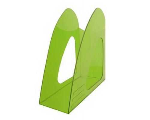 Лоток для бумаг вертикальный Hatber зеленый тонированный