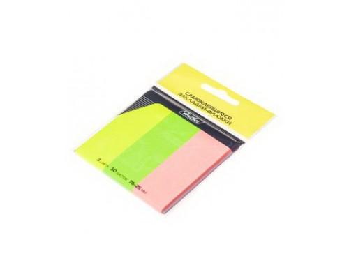 Закладки с липким слоем 50 листов 76*25мм Hatber NEON 3 цвета