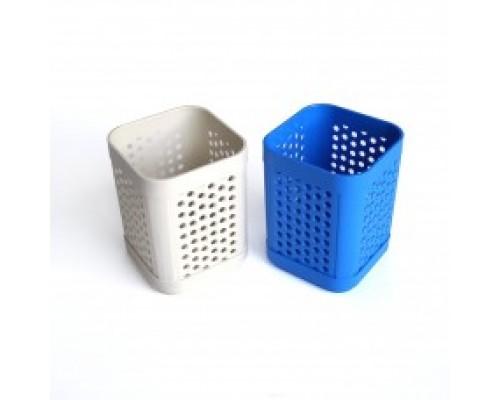 """Кан.Стакан д/канц.принадлежностей """"Сетка"""", куб, 8х10см цв.ассорти 4659"""